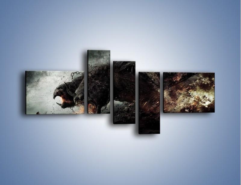 Obraz na płótnie – Groźny podmuch potworów – pięcioczęściowy GR174W5