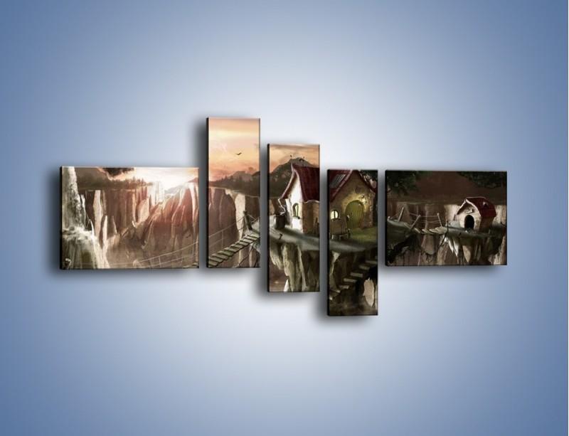 Obraz na płótnie – Domki nad przepaścią – pięcioczęściowy GR283W5