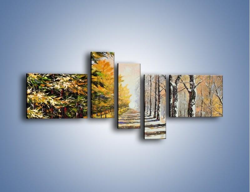 Obraz na płótnie – Trochę jesieni trochę zimy – pięcioczęściowy GR292W5