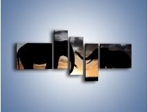 Obraz na płótnie – Dyskusja wśród słoni – pięcioczęściowy GR309W5