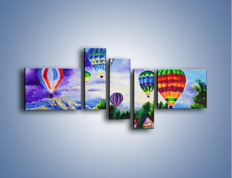 Obraz na płótnie – Lot kolorowym balonem – pięcioczęściowy GR482W5