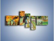 Obraz na płótnie – Aleją wśród drzew – pięcioczęściowy GR487W5