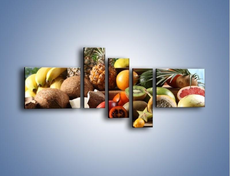 Obraz na płótnie – Mix owocowy na drewnianym stole – pięcioczęściowy JN009W5