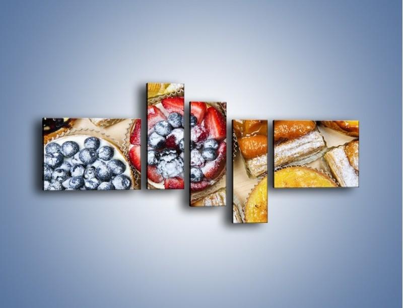 Obraz na płótnie – Kolorowe wypieki z dodatkiem owoców – pięcioczęściowy JN032W5