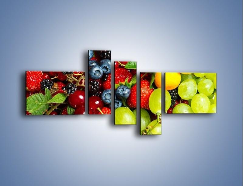 Obraz na płótnie – Wymieszane kolorowe owoce – pięcioczęściowy JN037W5