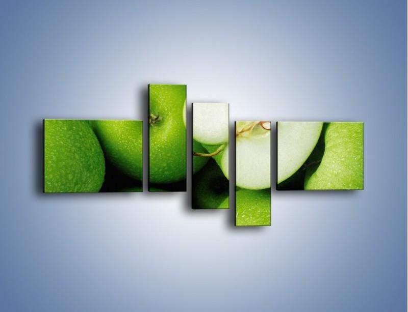 Obraz na płótnie – Zielone jabłuszka – pięcioczęściowy JN039W5