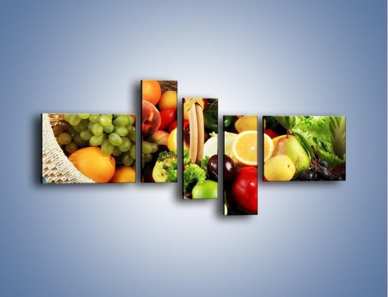 Obraz na płótnie – Kosz pełen owocowo-warzywnego zdrowia – pięcioczęściowy JN059W5