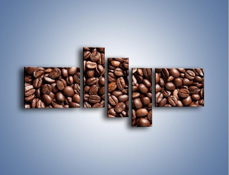 Obraz na płótnie – Ziarna świeżej kawy – pięcioczęściowy JN061W5