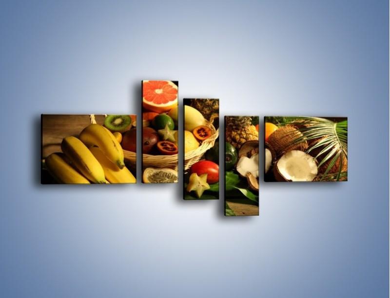 Obraz na płótnie – Kosz egzotycznych owoców – pięcioczęściowy JN074W5