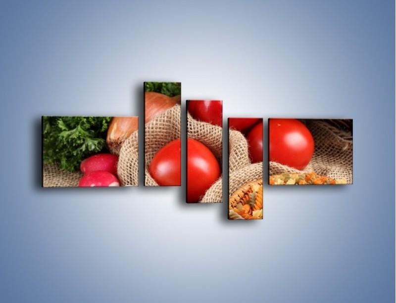 Obraz na płótnie – Makaron z warzywami – pięcioczęściowy JN076W5
