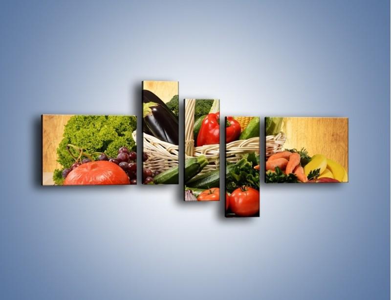 Obraz na płótnie – Kosz pełen warzywnych witamin – pięcioczęściowy JN081W5