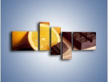 Obraz na płótnie – Czekoladowo-pomarańczowa rozkosz – pięcioczęściowy JN094W5