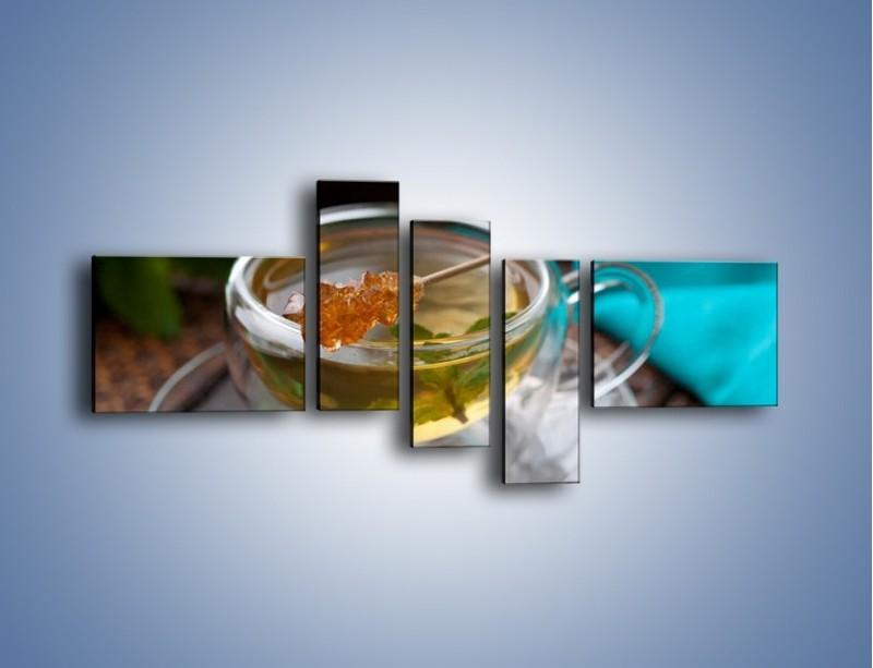 Obraz na płótnie – Oczyszczająca zielona herbata – pięcioczęściowy JN104W5