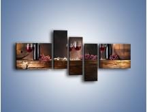 Obraz na płótnie – Beczuszki czerwonego wina – pięcioczęściowy JN142W5