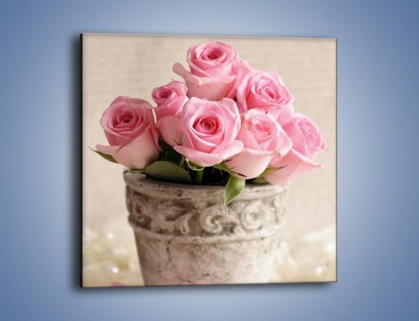 Obraz na płótnie – Doniczka pełna róż – jednoczęściowy kwadratowy K196