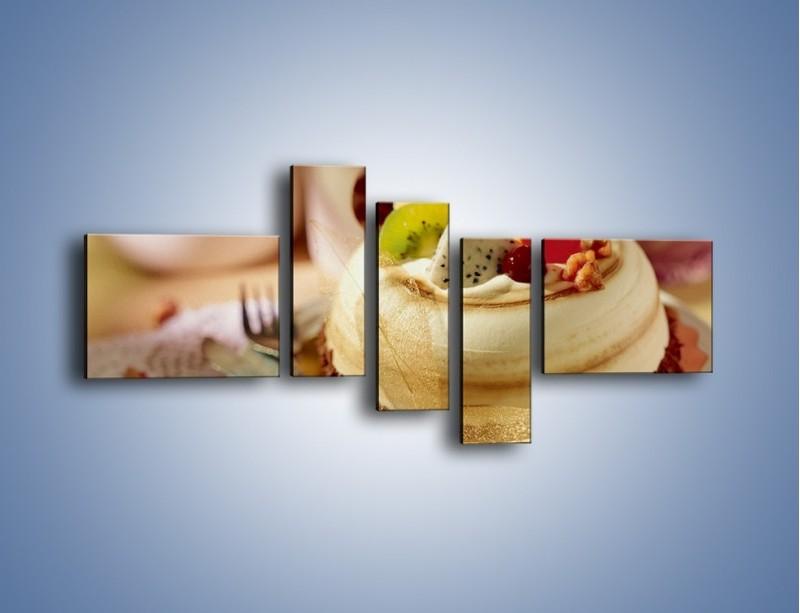 Obraz na płótnie – Bezowy torcik owocowy – pięcioczęściowy JN256W5