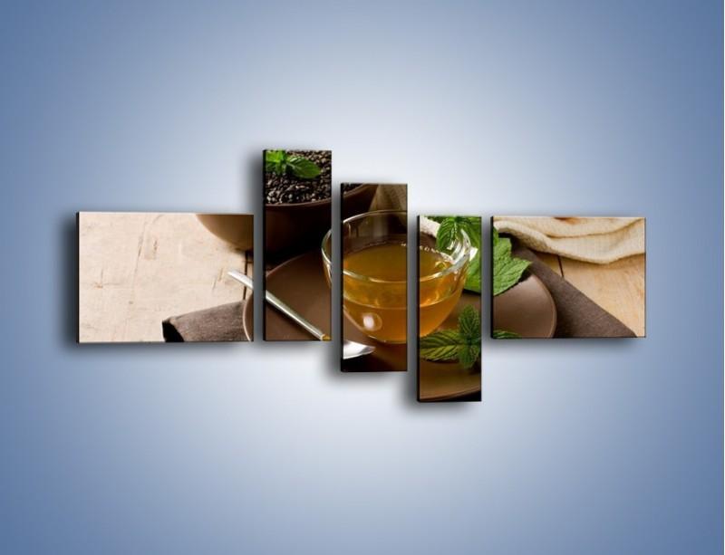 Obraz na płótnie – Filiżanka herbaty na poprawę humoru – pięcioczęściowy JN264W5