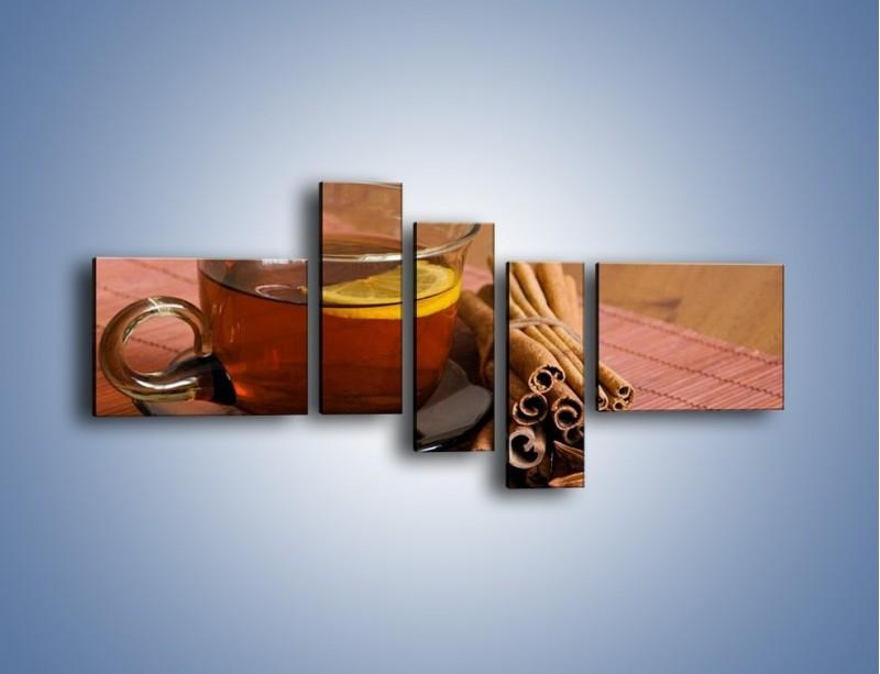 Obraz na płótnie – Rozgrzewająca filiżanka herbaty – pięcioczęściowy JN266W5