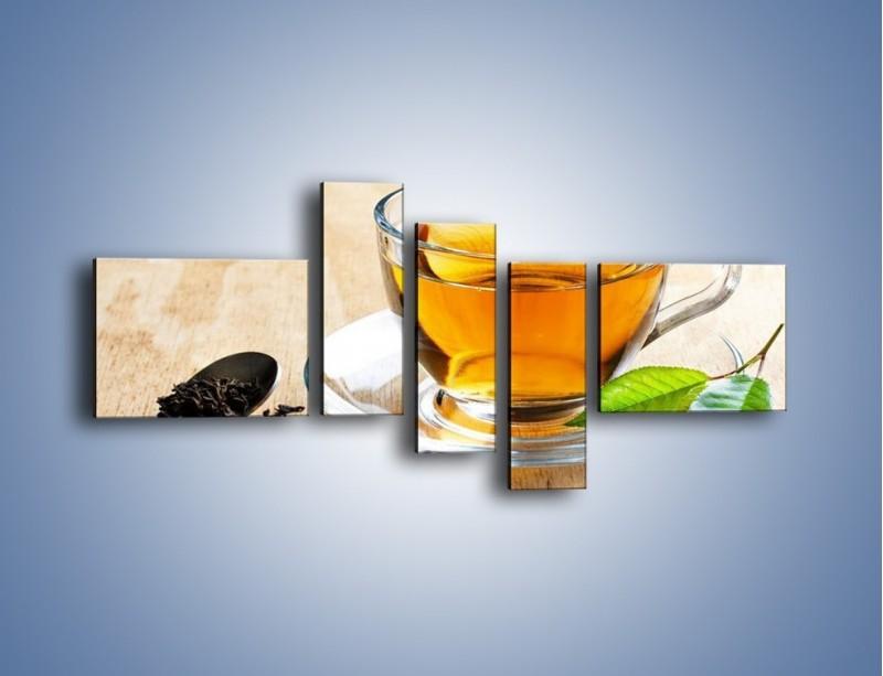 Obraz na płótnie – Listek mięty dla orzeźwienia herbaty – pięcioczęściowy JN290W5