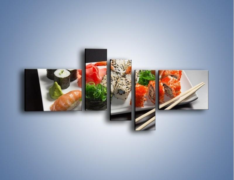 Obraz na płótnie – Kuchnia azjatycka na półmisku – pięcioczęściowy JN295W5