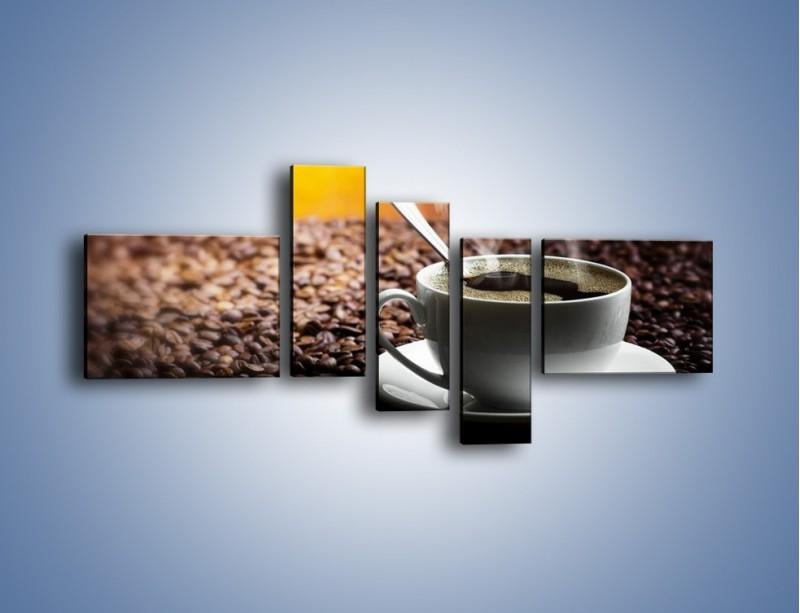Obraz na płótnie – Aromatyczna filiżanka kawy – pięcioczęściowy JN298W5