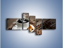 Obraz na płótnie – Czarna palona kawa – pięcioczęściowy JN311W5