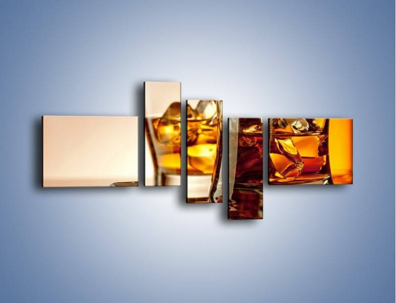 Obraz na płótnie – Męskie rozmowy przy whisky – pięcioczęściowy JN318W5