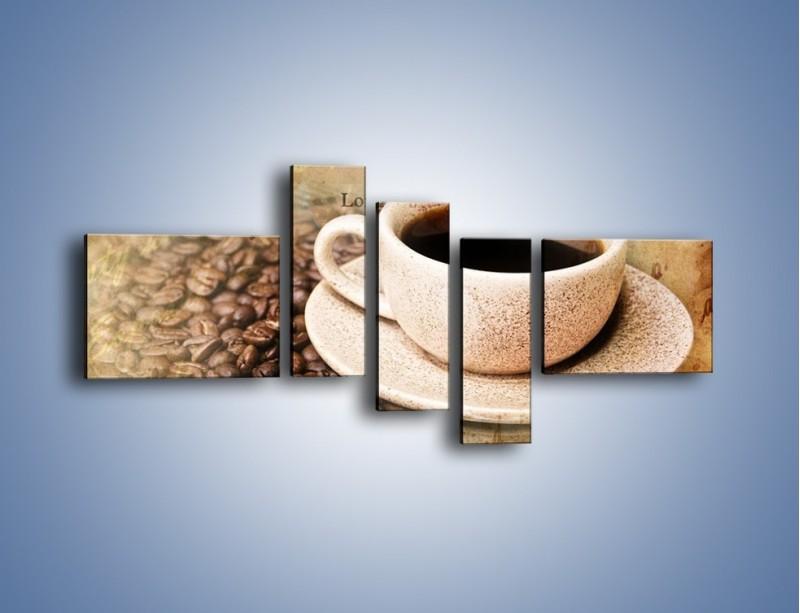 Obraz na płótnie – List przy filiżance kawy – pięcioczęściowy JN347W5