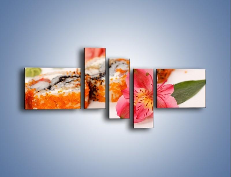 Obraz na płótnie – Sushi z kwiatem – pięcioczęściowy JN354W5