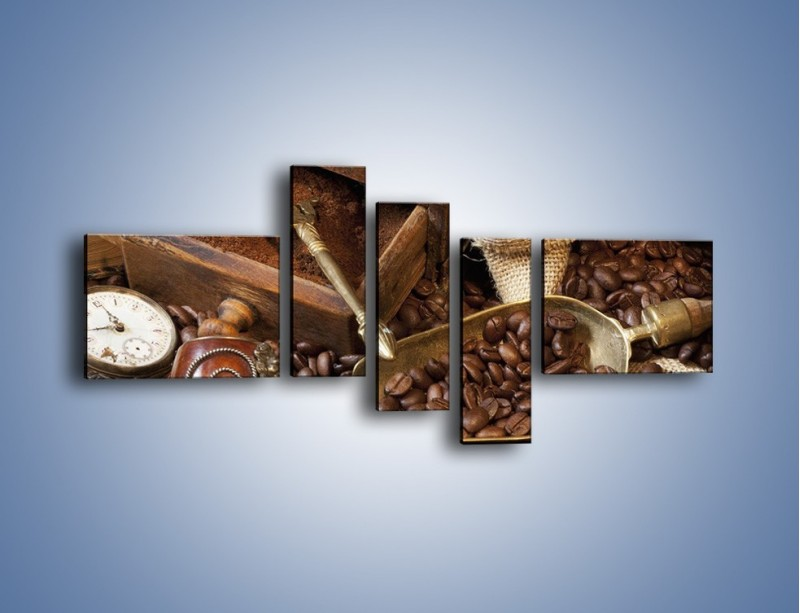 Obraz na płótnie – Szuflada pełna kawy – pięcioczęściowy JN356W5