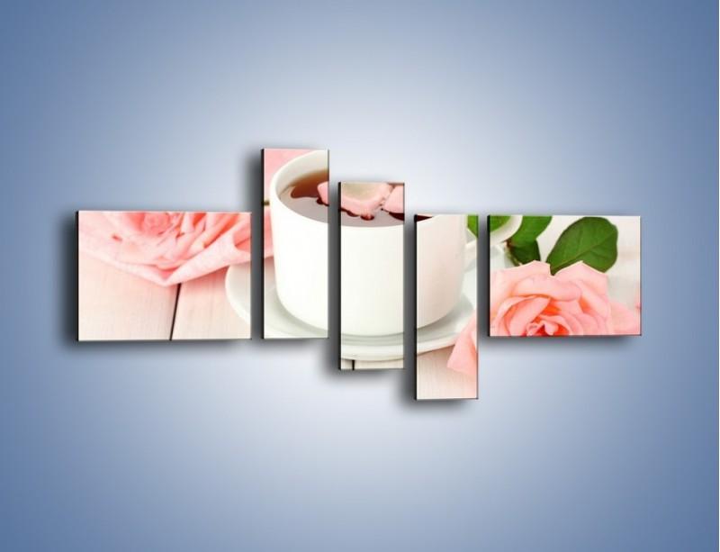 Obraz na płótnie – Herbata wśród róż – pięcioczęściowy JN369W5