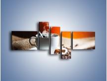 Obraz na płótnie – Aromatyczny zapach kawy – pięcioczęściowy JN374W5