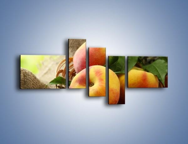 Obraz na płótnie – Dojrzałe jabłka w koszu – pięcioczęściowy JN390W5
