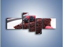 Obraz na płótnie – Czekoladowe brownie z owocami – pięcioczęściowy JN408W5
