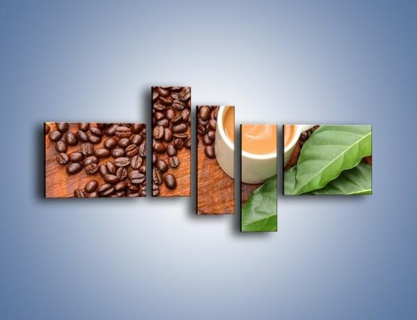 Obraz na płótnie – Ziarna kawy pod liściem – pięcioczęściowy JN417W5