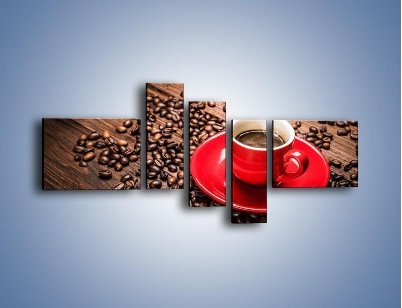 Obraz na płótnie – Kawa w czerwonej filiżance – pięcioczęściowy JN441W5