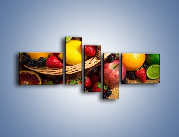 Obraz na płótnie – Kosz zatopiony w owocach – pięcioczęściowy JN635W5