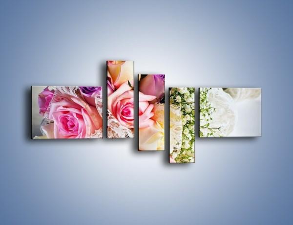 Obraz na płótnie – Wiązanka ślubna z róż – pięcioczęściowy K022W5