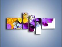 Obraz na płótnie – Ciepłe kolory w kwiatach – pięcioczęściowy K442W5