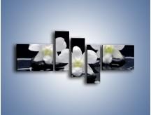 Obraz na płótnie – Biel w kwiecie nocą – pięcioczęściowy K512W5