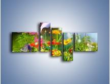 Obraz na płótnie – Bańkowy świat kwiatów – pięcioczęściowy K691W5