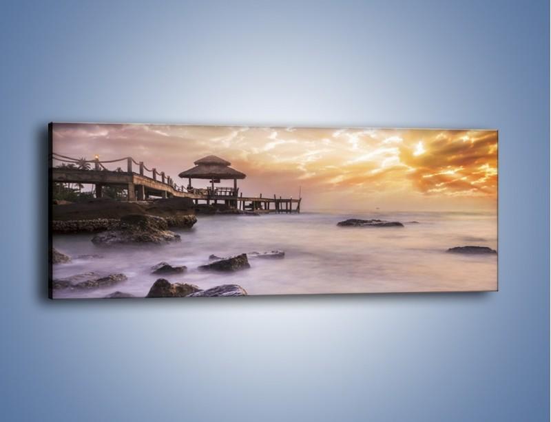Obraz na płótnie – Wilgotne powietrze nad pomostem – jednoczęściowy panoramiczny KN1356A