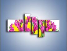 Obraz na płótnie – Bukiet fioletowo-żółtych tulipanów – pięcioczęściowy K778W5