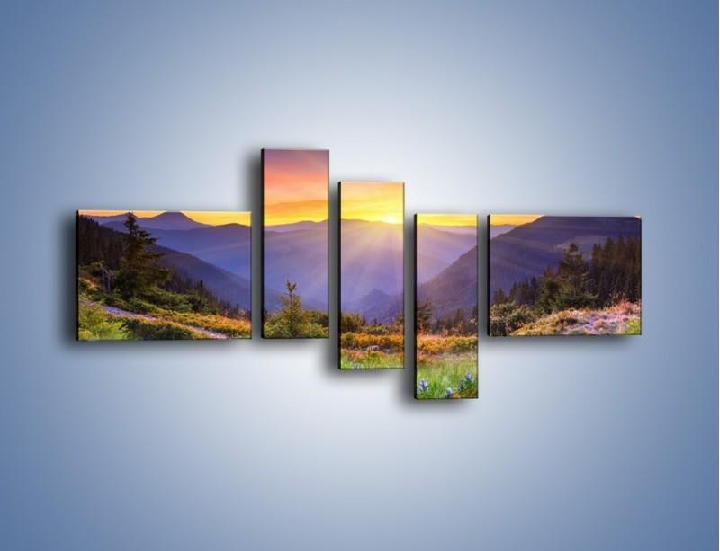 Obraz na płótnie – Góry o zachodzie słońca – pięcioczęściowy KN014W5