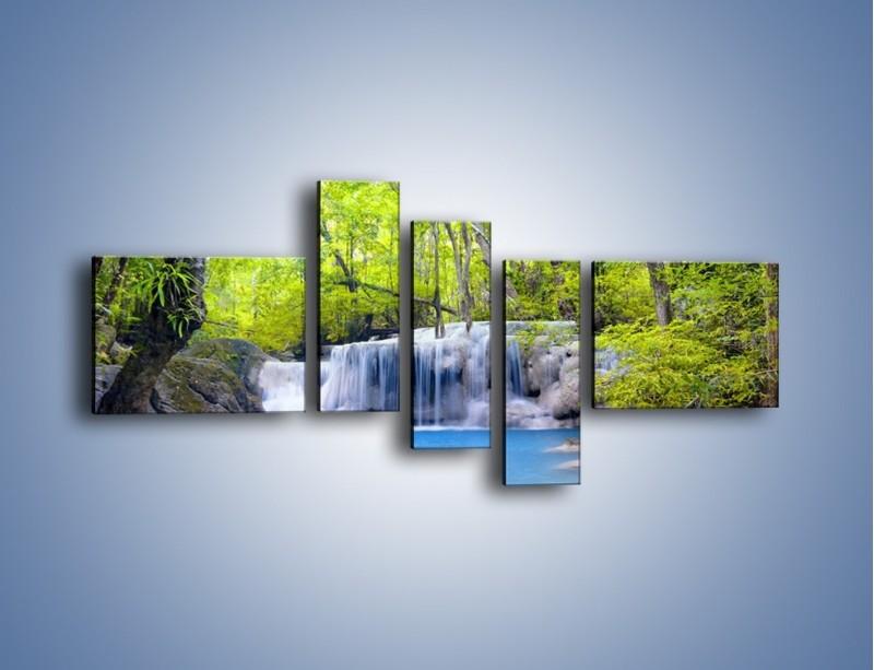 Obraz na płótnie – Mały leśny wodospad – pięcioczęściowy KN057W5