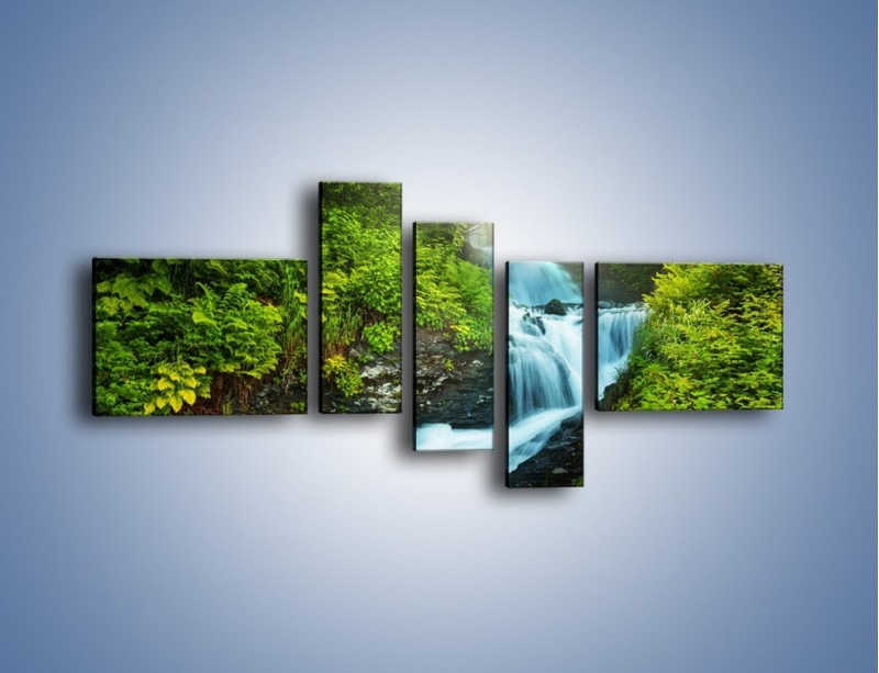 Obraz na płótnie – Spływ wodny i zieleń – pięcioczęściowy KN1069W5