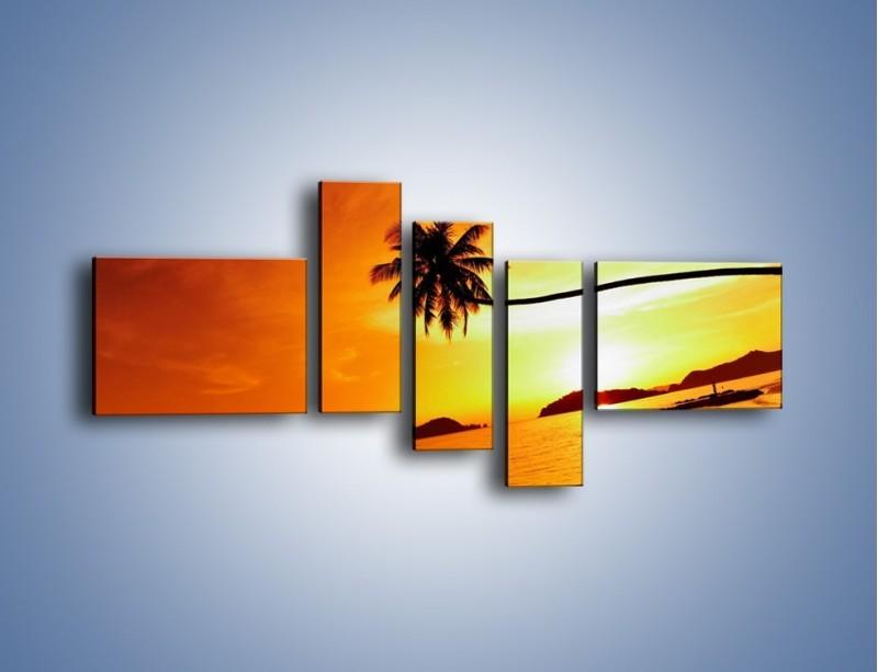 Obraz na płótnie – Palma o zachodzie słońca – pięcioczęściowy KN1077W5