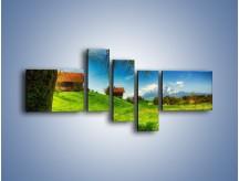 Obraz na płótnie – Chatki na polanie – pięcioczęściowy KN1085AW5