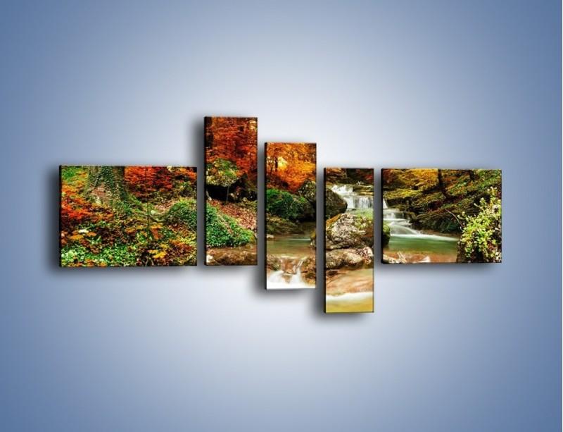 Obraz na płótnie – Jesienne kolory w lesie – pięcioczęściowy KN1094AW5