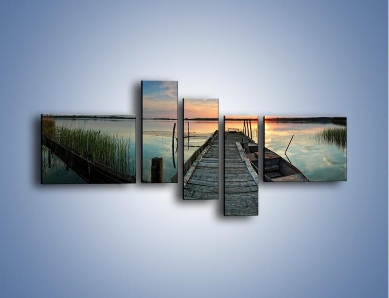 Obraz na płótnie – Stary most i łódź – pięcioczęściowy KN1096AW5